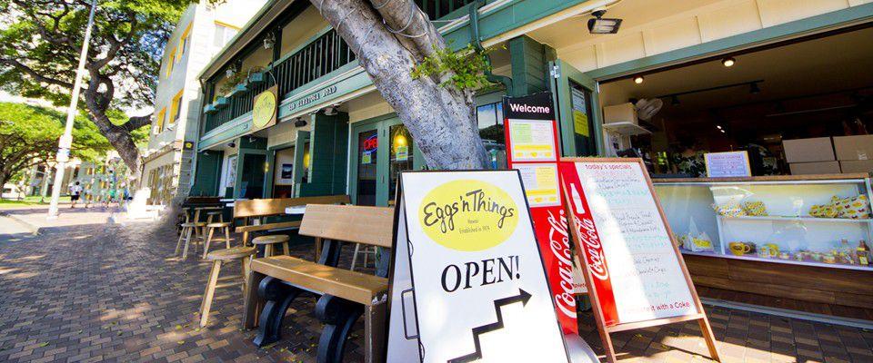 ハワイ・サラトガ通りEggs'n Thingsの本店フラッグシップでパンケーキを堪能しよう!