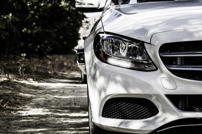 White Mercedes sedan